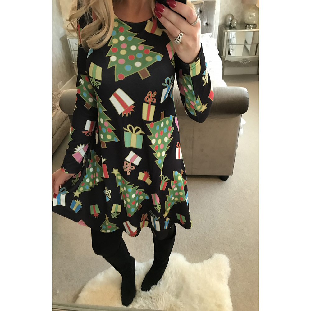boho women dress new fashion ladies female womens clothing Christmas tree printed gift printing long sleeve dresses