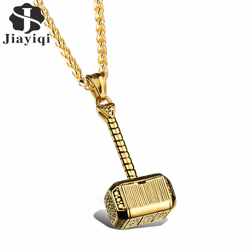 цена на Jiayiqi Fashion 2017 New Men's Necklaces Hammer Pendant Stainless Steel Male Necklace Silver & Gold Color Punk Cool Jewelry