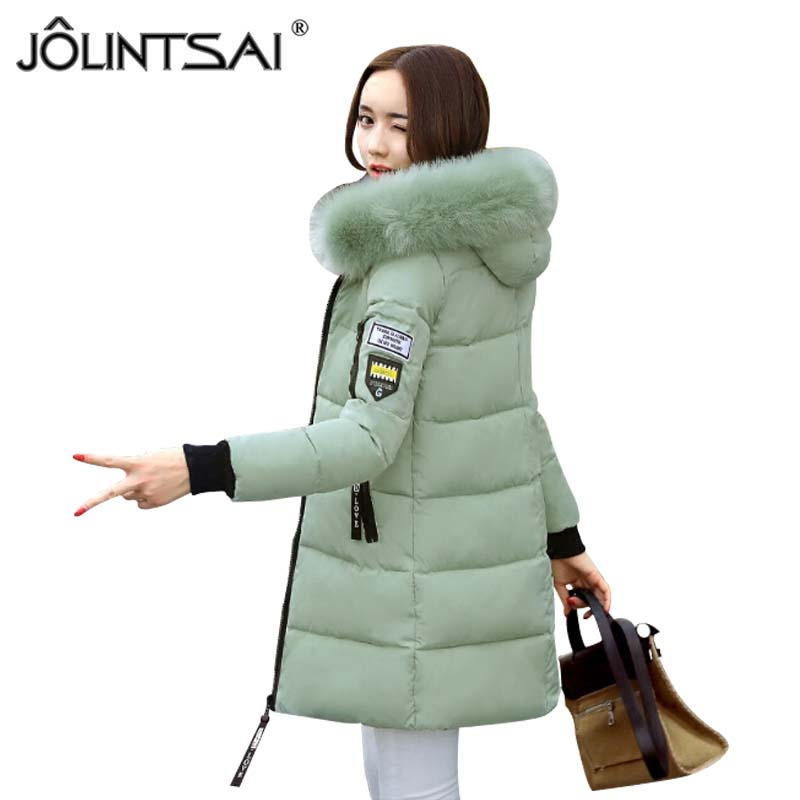 2017 Winter Jacket Women Warm Parkas Padded Cotton Coat Female Middle-long Fur Hooded Winter Coats Overcoat Jaquetas Feminino jolintsai winter coat jacket women warm fur hooded woman parkas winter overcoat casual long cotton wadded lady coats