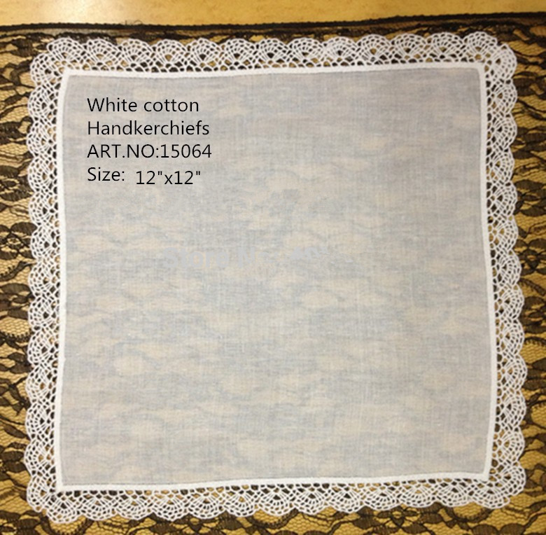 Set Of 12 Fashion Wedding Bridal Handkerchiefs White Cotton Ladies Handkerchief Embroidery Lace Crochet  Hankie Hanky 12x12-inch