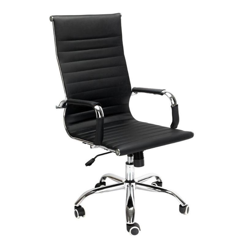 Silla giratoria de alta espalda ergonómica altura ajustable de cuero PU silla de oficina E5M1
