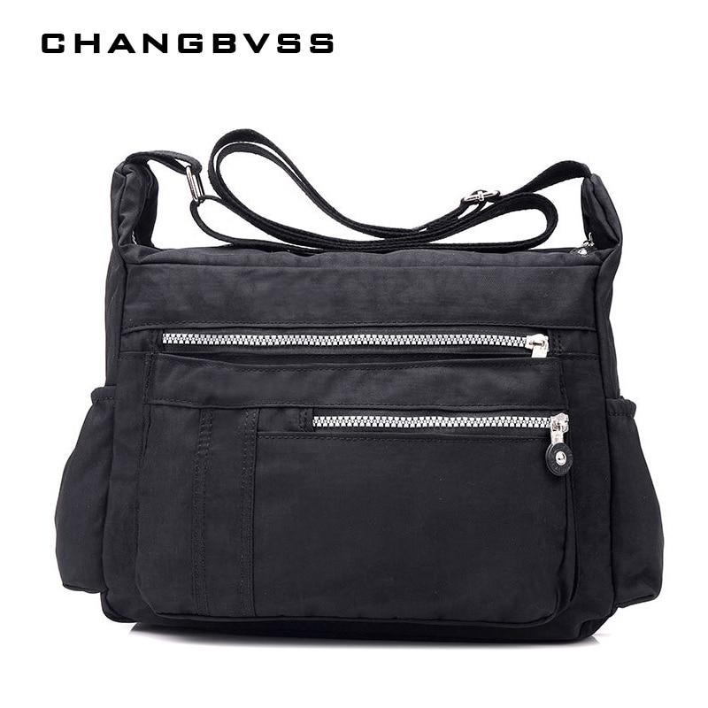 Однотонная сумка для подгузников, водонепроницаемая нейлоновая сумка на молнии для мам и мам, многофункциональная дорожная женская сумка на плечо, 6 видов цветов