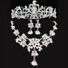 Envío gratis joyería de la boda set collar pendientes tiara de cristal conjuntos de joyería nupcial fija al por mayor