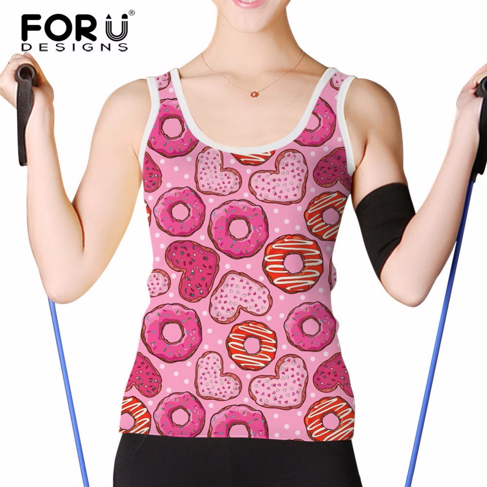 FORUDESIGNS Pink Donuts Pattern Tank Top Women Fashion Sleeveless Vests Female Elastic Summer Comfortable Top Tees Big Size S-XL
