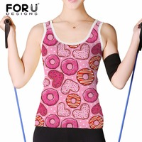 FORUDESIGNS Pink Donuts Pattern Tank Top Women Fashion Sleeveless Vests Female Elastic Summer Comfortable Top Tees