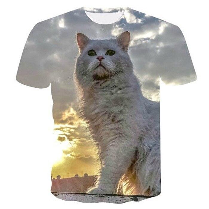 Новинка, футболка для мужчин/женщин, 3d принт, мяу, черный, белый, кот, хип-хоп, Мультяшные футболки, летние топы, футболки, модные 3d футболки, M-5XL - Цвет: txu-162