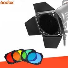 Godox BD-04 Barn двери + соты сетки 4 цвета фильтр красный/синий/зеленый/желтый для Боуэн крепление Стандартный вспышка со светоотражателем интимные аксессуары