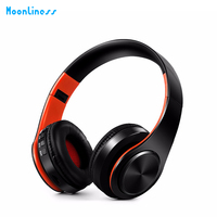 Moonliness Wireless Portable Bluetooth Headpset Foldable Wired Stereo Headphones HiFi Music Smart Earphone With TF Card