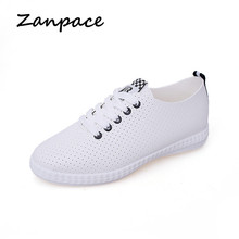 2019 Casual Platform Shoes Womes Breathable White Sneakers Flats Ladies Shoes Summer Lace-Up Flats Womens Shoes Cross-tied Flats