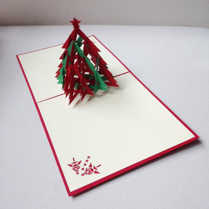 Pop Up Christmas Cards.Us 21 6 3d Red Green Christmas Tree Handmade Creative Kirigami Origami Pop Up Christmas Card Free Shipping Set Of 10 On Aliexpress Com