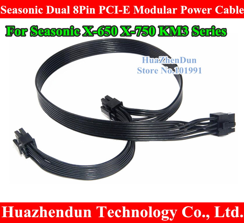 NEW FOR Dual 8Pin PCI-E Modular Power Supply Cable Cord 18AWG 50cm+15cm for Seasonic X-650 X-750 KM3 Series DHL/EMS