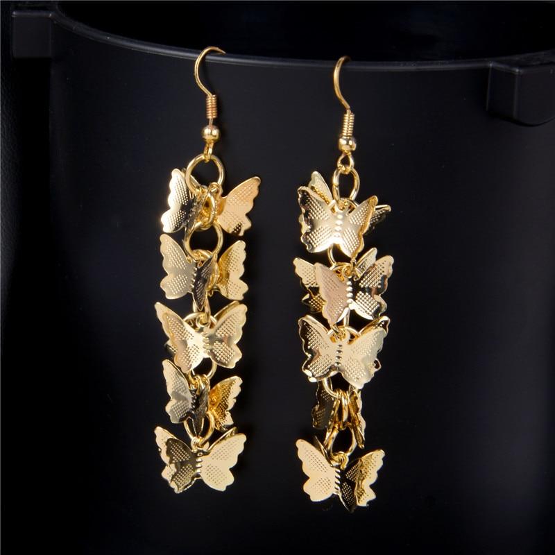 SHUANGR New Hot Sale Fashion Elegant Gold Color Butterfly Long Drop Earrings Jewelry Statement Dangle earring for women 2016
