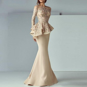 Champagne Mermaid Evening Dresses 2020 Long Evening Gown Long Sleeves Lace Peplum abiye Robe De Soiree Elegant Formal Dress formal dresses mermaid evening dress long 2019 backless robe de soiree abiye gece elbisesi