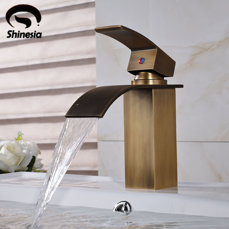 Antique Brass Bathroom Sink Faucet Solid Brass Countertop Vessel Mixer Tap Deck Mount solid brass