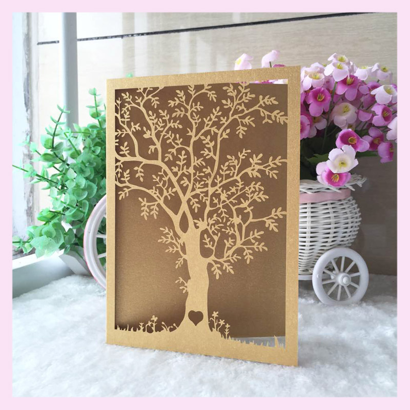 Customized Tiffany Blue Dark Gold White New Style Romantic Tree Shape Wedding Invitation Card Envelope And Printing Inner Page Tiffany Blue Wedding Invitation Cardinvitation Card Aliexpress