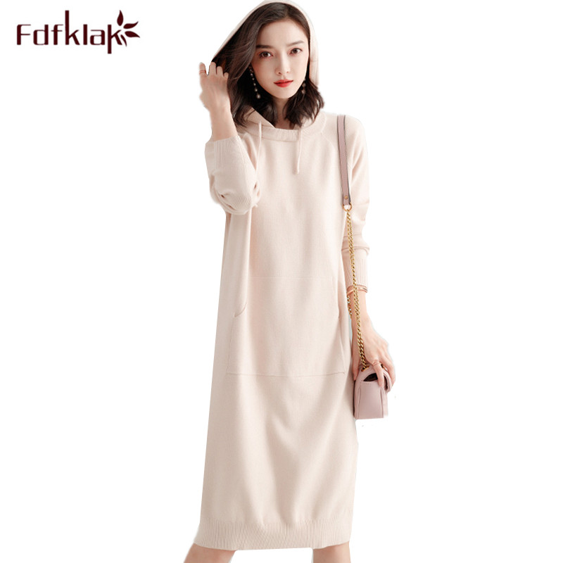 Fdfklak High quality women's sweater dress hooded knit dresses autumn winter bottoming dresses casual party dress vestidos