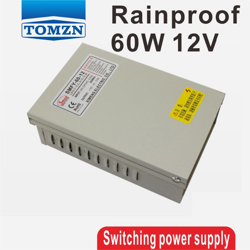 60W 12V 5A Rainproof outdoor Single Output Switching power supply smps AC TO DC for LED 145w 24v 6a single output switching power supply for led strip light ac to dc smps