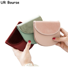 UR BOURSE Womens Pu Leather Folding Wallet Female Short Ultra-thin Coin Purse Girls Card Holder Ladies Multi-card Buckle