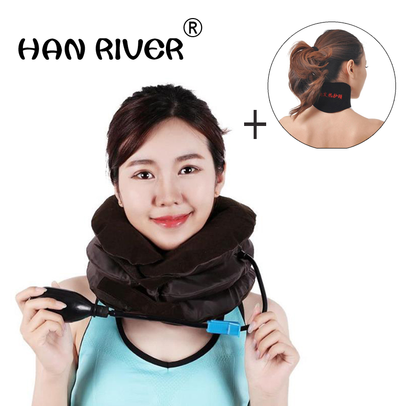 Inflatable Cervical Vertebra Traction 3 Layers Soft Cloth Soft Relax Cervical Collar Correct Neck Support Brace Apparatus