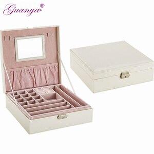 Image 1 - Guanya brand earings ring necklace holder Packaging case jewelry display Organizer women Birthday Graduation Gift box