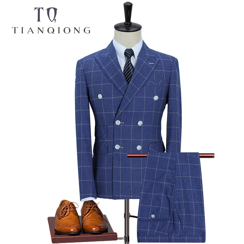 TIAN QIONG Brand 2018 New Arrival High Quality Fashion Double Breasted Suits Men,streak Men's Suit,Size M-5XL,Jacket+ Pants+Vest
