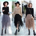 3 Colors Women Tulle Tutu Skirt Ball Gown Long Pleated Skirts Women Mid-Calf Summer Party Asymmetric Midi Skirt Free Size BQ7219