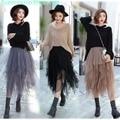3 Colors Women Tulle Tutu Skirt Ball Gown Long Pleated Skirts Women Mid-Calf Summer Party Asymmetric Midi Skirt Free Size BQ7219