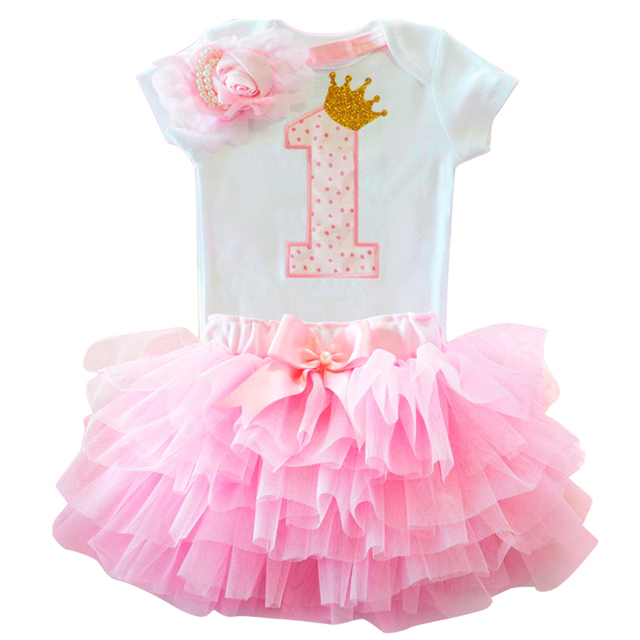 Infant First Birthday Outfits Baby Girl Clothes Sets Newborn Toddler Girl Christening Party Wear Little Girl One Year Clothing