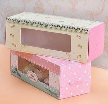 Free Shipping 20pcs/lot Long-style Cake Roll Box Cupcake Box Pink Yellow Flower Box