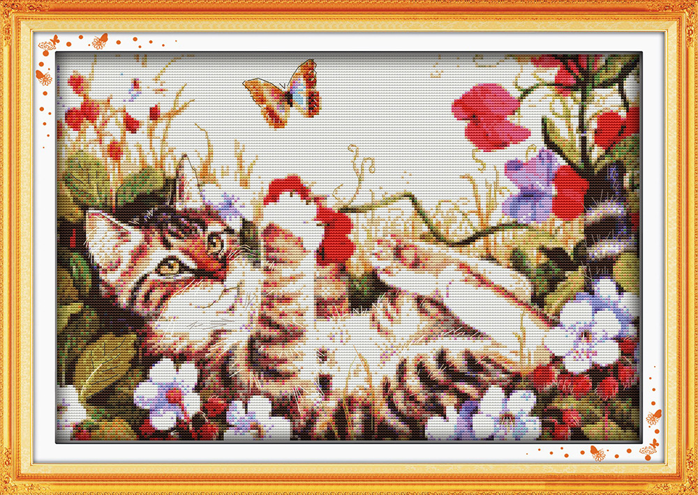 Leisure cat in flowers Printed Canvas DMC Counted Cross Stitch Kits - Arts, Crafts and Sewing - Photo 1
