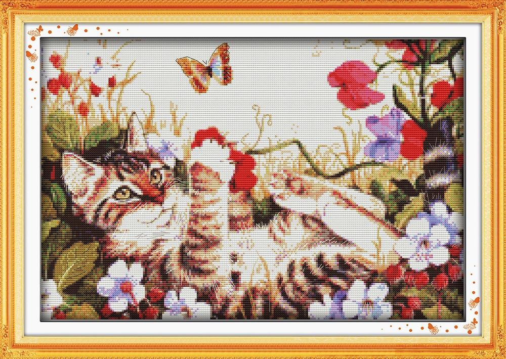 Freizeit Katze in Blumen Gedruckte Leinwand DMC Stickpackungen - Kunst, Handwerk und Nähen - Foto 1