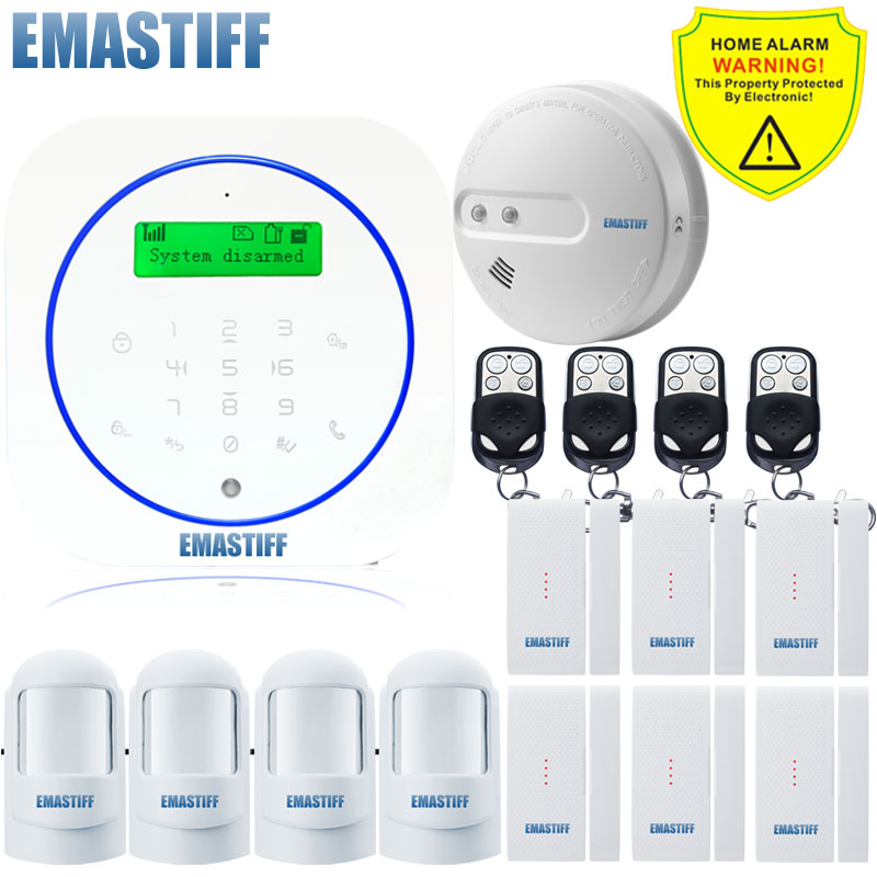 Free shipping.Wireless Android app GSM Text Fire Smoke Home Alarm System Smart with PIR Sensor Door gap Smoke security Detector image