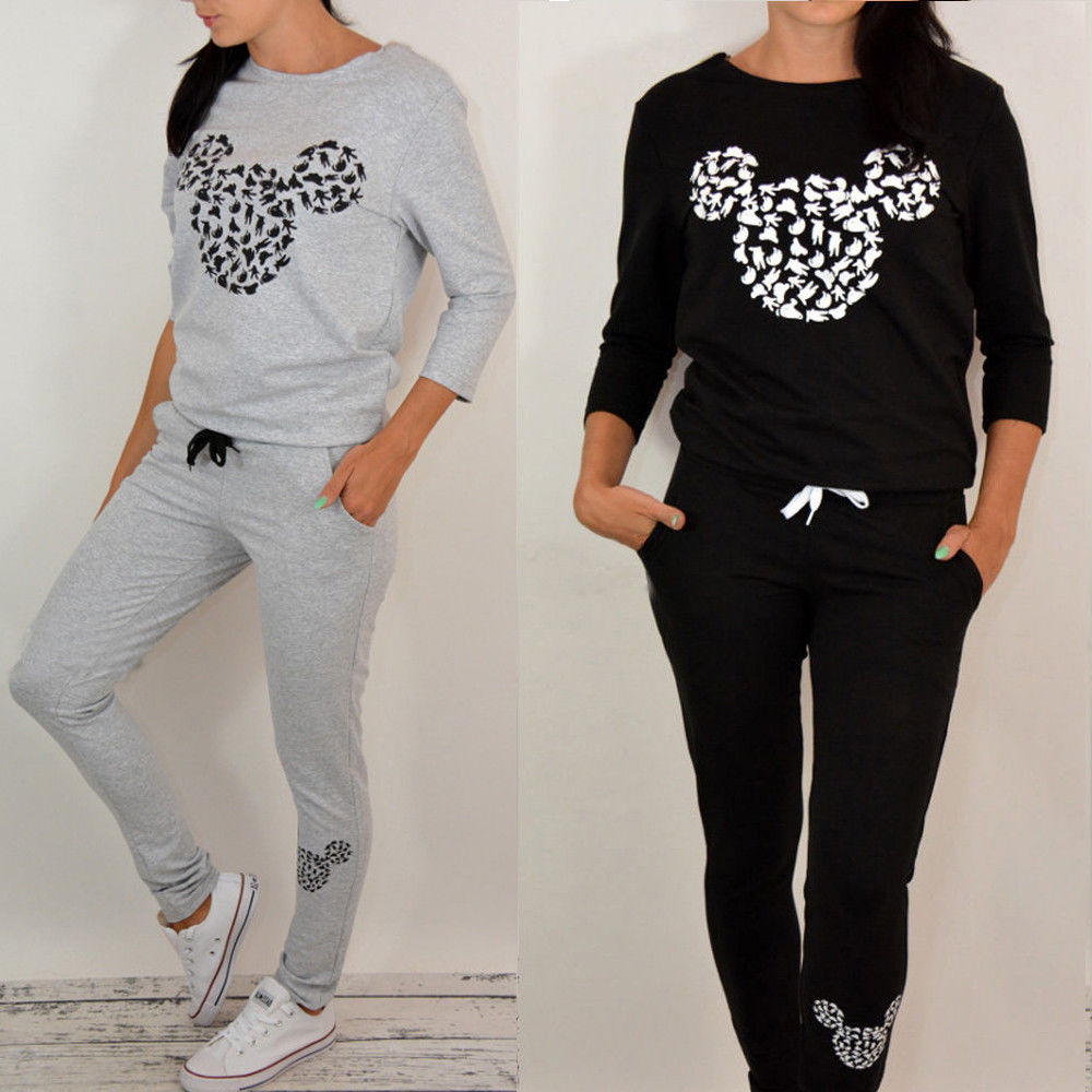 Womens Mickey Minnie Mouse Tracksuit Set Sweatshirt Pants Sports Casual Suit UK