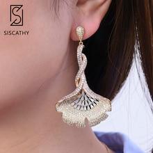 Siscathy 28*62mm Luxury 3Tones Cubic Zirconia Earrings African Drop Dangle For Women Fashion Jewelry 2019 New