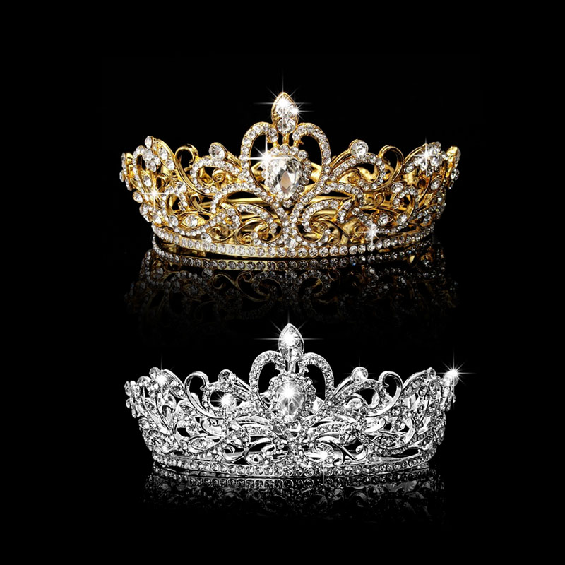 Rhinestone King Crown Tiara Wedding Pageant Bridal Diamante Headpiece Jewelry ...