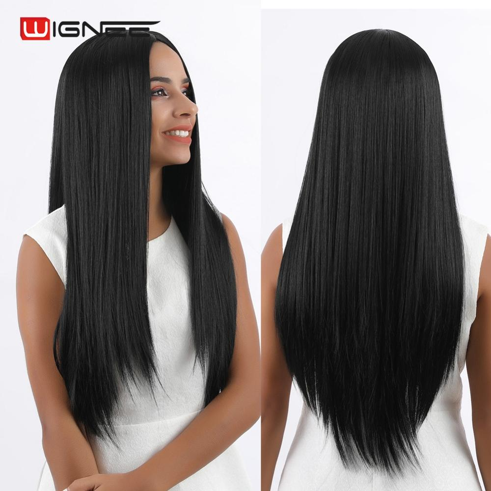 Wignee Long Straight Hair Synthetic Wig For Women High Density Temperature Heat Resistant Natural Black Cosplay Hair Female Wigs
