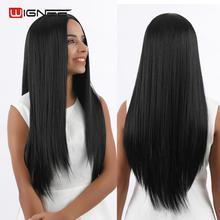 Wignee Long Straight Hair Synthetic Wig For Women High Density Temperature Heat Resistant Natural Black Cosplay Female Wigs