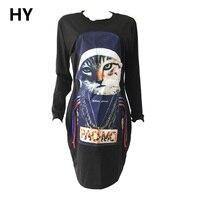 新しい猫tシャツプリントパンクロックグラフィックtシャツホワイトデザイナー3d tシャツ服女