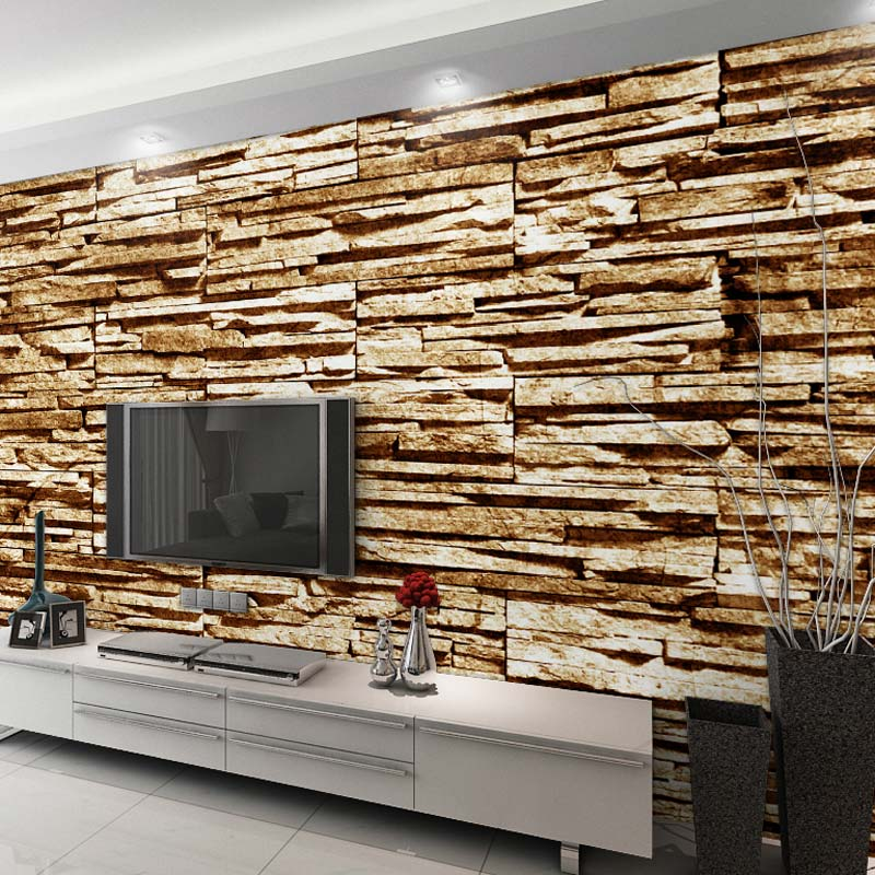Home decor wall papers 3d stone brick wall photo murals for 3d stone wallpaper for living room