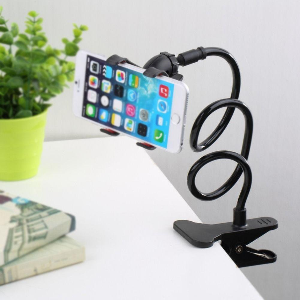 Giosio Universal Cell Phone Clip Holder Universal Mobile Phone Stand Lazy Bracket Rotating Mount with Multiple Function Flexible Long Arms Hanging on Neck Desk Bed for Any Phone with or Without Case