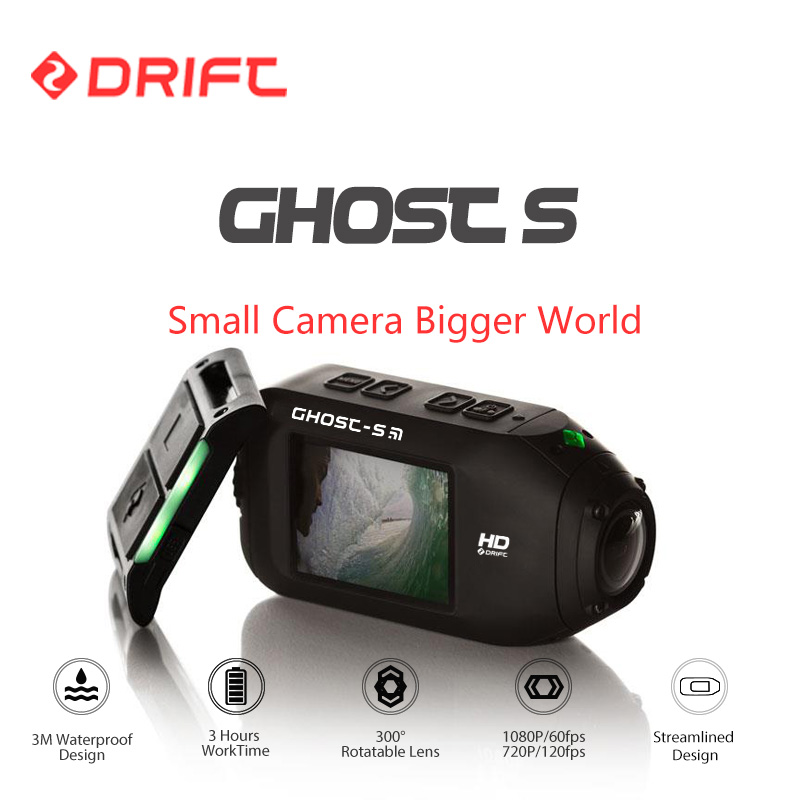 Drift Ghost S Action Sports Camera Motorcycle Bike Helmet mini Cam with WiFi Waterproof LCD Screen 160 Degree Wide Angle Lens drift ghost 4k action camera black