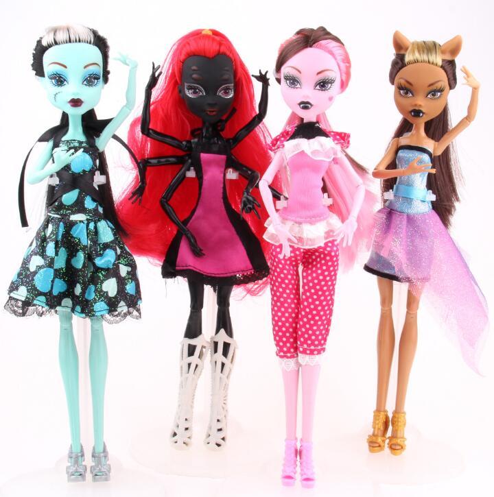 High Quality Fasion Monster Dolls Draculaura/Clawdeen Wolf/ Frankie Stein / Black WYDOWNA Spider Moveable Body Girls Toys подвеска monster high draculaura на ленте