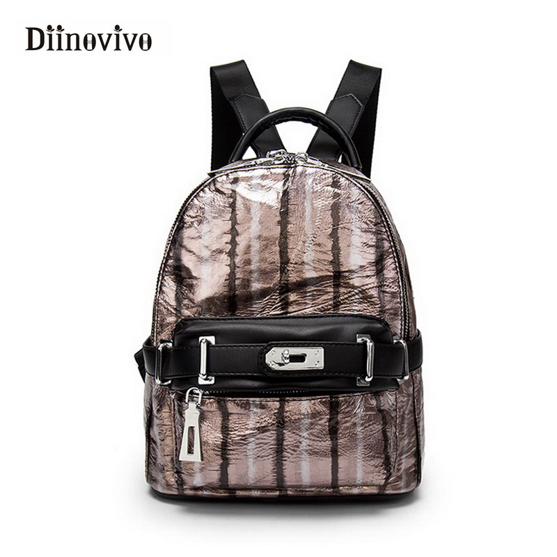 DIINOVIVO Luxury Bags Made of Genuine Leather Motorcycle Backpacks for Women Striped Designer Small Women's Travel Bag WHDV0273 striped travelling carrying bag for cats small