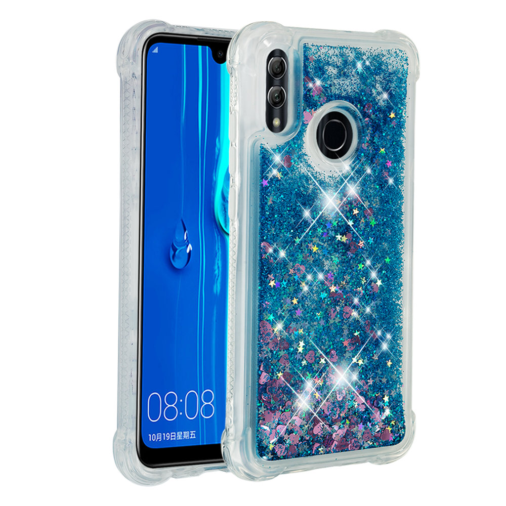 Shining quicksand TPU anti fall Love Heart phone case is suitable for Huawei Honor 10 Lite in Fitted Cases from Cellphones Telecommunications