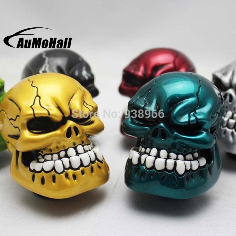 Automobile Race Gear Head Skull Head Gear Auto Shift Knob Refires Knob Cool Wave Stick Head Gold Color