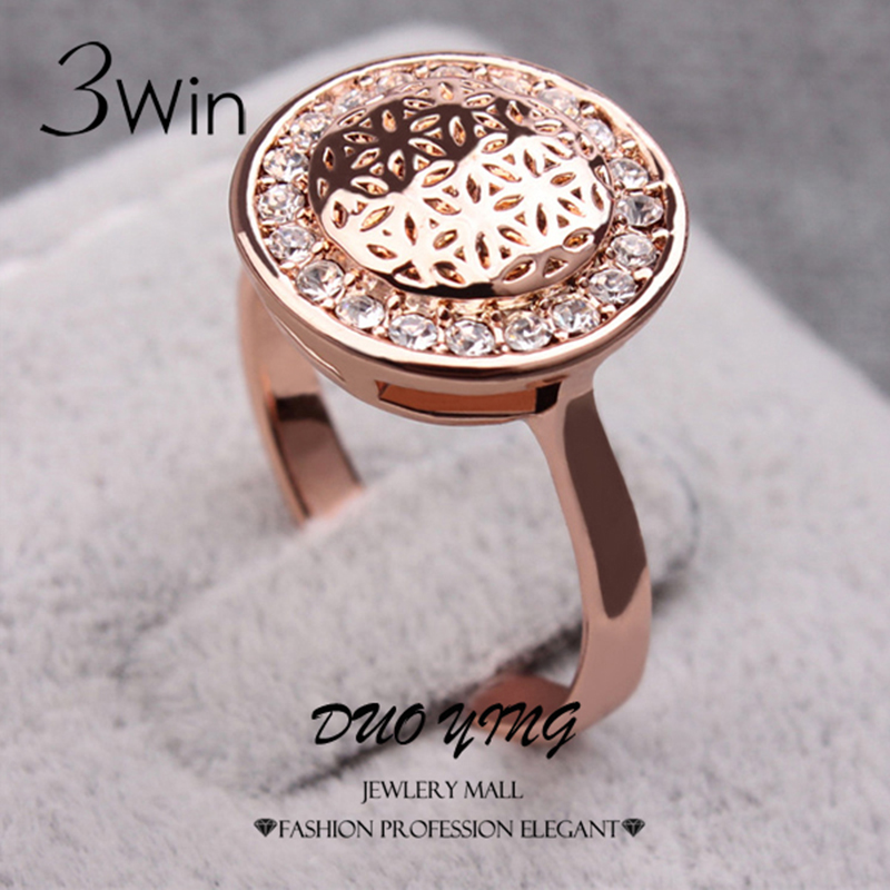 3Win Brand Top Vogue Ladies Rings Rose Gold Color Flower Printed Shining Crystal Wedding Rings For Women Anel Ouro Kpop Anillos