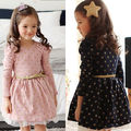 New Baby Girls Lace Polka Dot Cotton Party Birthday Gown Formal Dress+Belt 2-7Y kids dresses for girls dress wedding dress