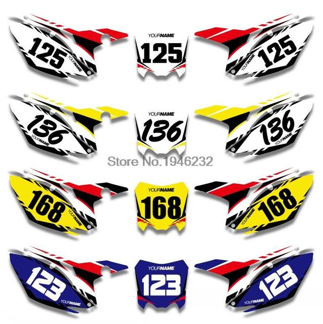Custom number plate backgrounds graphics sticker decals kit for honda crf450r crf450 2013 2014 2015