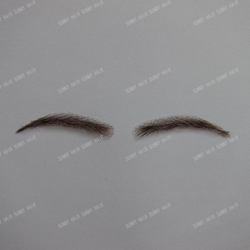 whole sale human hair hand made human hair false eyebrow 0117 dark brown color invisible net