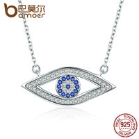 BAMOER 100 Authentic 925 Sterling Silver Lucky Blue Eyes Punk Pendant Necklaces For Women Collares Fine